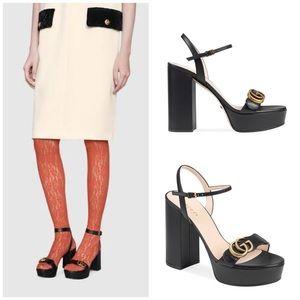 Gucci   Black Platform Sandals with Double G